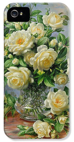 Roses iPhone 5 Cases - Princess Diana Roses in a Cut Glass Vase iPhone 5 Case by Albert Williams