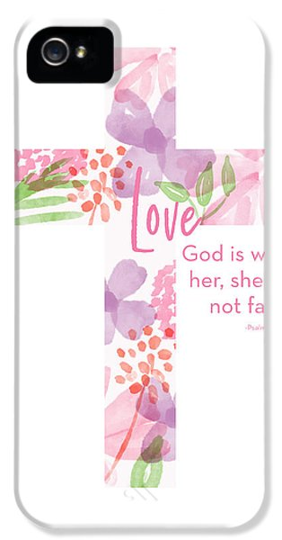 Cross iPhone 5 Case - Psalm 46 5 Cross- Art By Linda Woods by Linda Woods