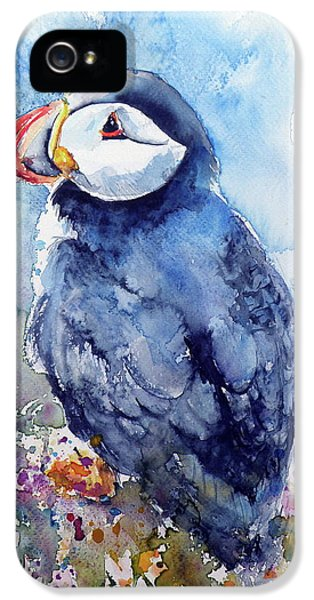 Puffin With Flowers IPhone 5 Case by Kovacs Anna Brigitta