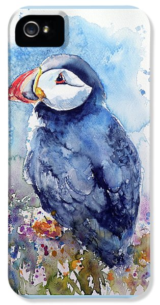 Puffin iPhone 5 Case - Puffin With Flowers by Kovacs Anna Brigitta