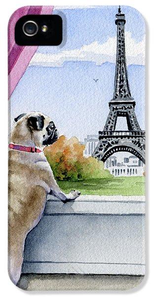 Paris iPhone 5 Case - Pug In Paris by David Rogers