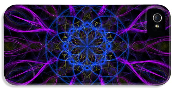 IPhone 5 Case featuring the photograph Purple Blue Kaleidoscope Square by Adam Romanowicz