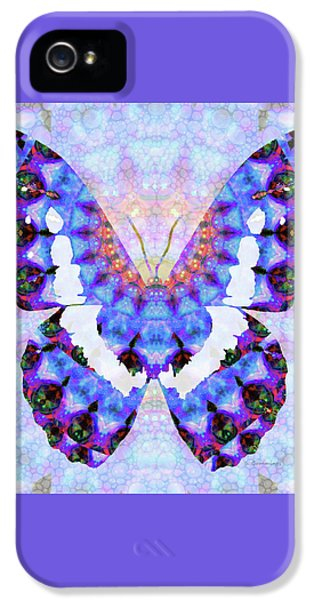 Purple Mandala Butterfly Art By Sharon Cummings IPhone 5 Case by Sharon Cummings
