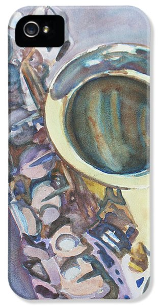 Saxophone iPhone 5 Case - Purple Sax by Jenny Armitage