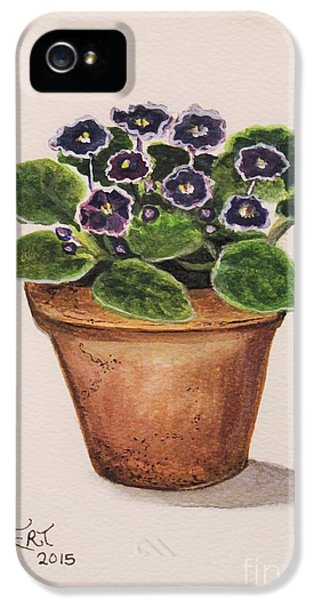 Garden iPhone 5 Case - Purple Violets by Elizabeth Robinette Tyndall
