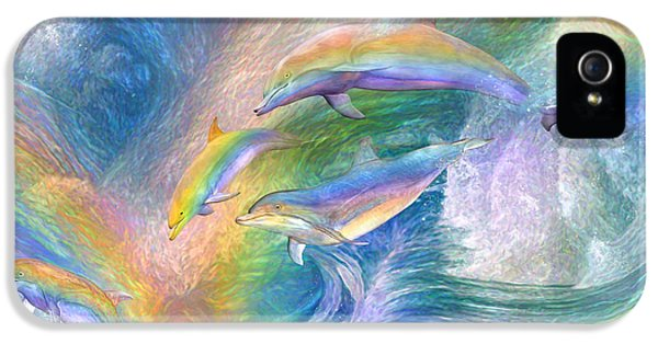 Rainbow Dolphins IPhone 5 / 5s Case by Carol Cavalaris