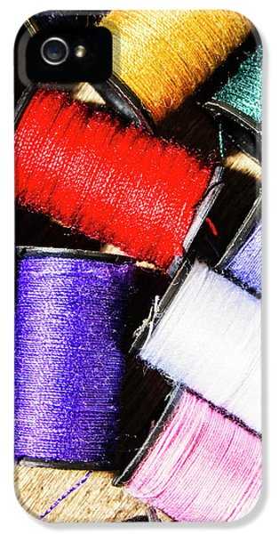 IPhone 5 Case featuring the photograph Rainbow Threads Sewing Equipment by Jorgo Photography - Wall Art Gallery