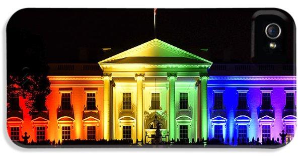 Rainbow White House  - Washington Dc IPhone 5 Case by Brendan Reals