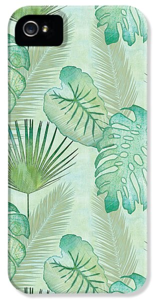 Rainforest Tropical - Elephant Ear And Fan Palm Leaves Repeat Pattern IPhone 5 Case by Audrey Jeanne Roberts
