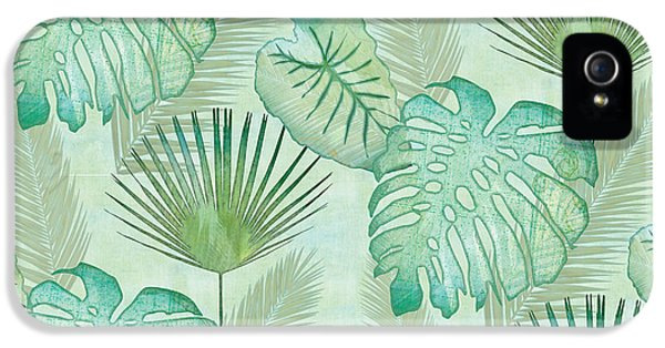 Weather iPhone 5 Case - Rainforest Tropical - Elephant Ear And Fan Palm Leaves Repeat Pattern by Audrey Jeanne Roberts