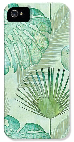 Animals iPhone 5 Case - Rainforest Tropical - Elephant Ear And Fan Palm Leaves Repeat Pattern by Audrey Jeanne Roberts