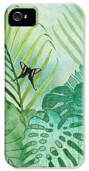 Rainforest Tropical - Philodendron Elephant Ear And Palm Leaves W Botanical Butterfly IPhone 5 Case by Audrey Jeanne Roberts