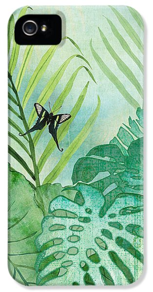 Rainforest Tropical - Philodendron Elephant Ear And Palm Leaves W Botanical Butterfly IPhone 5 Case