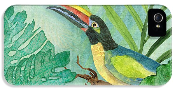 Toucan iPhone 5 Case - Rainforest Tropical - Jungle Toucan W Philodendron Elephant Ear And Palm Leaves 2 by Audrey Jeanne Roberts