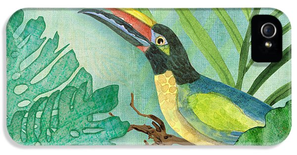 Rainforest Tropical - Jungle Toucan W Philodendron Elephant Ear And Palm Leaves 2 IPhone 5 Case by Audrey Jeanne Roberts