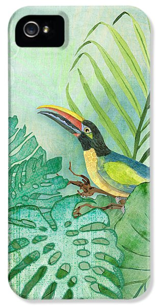 Rainforest Tropical - Tropical Toucan W Philodendron Elephant Ear And Palm Leaves IPhone 5 Case by Audrey Jeanne Roberts