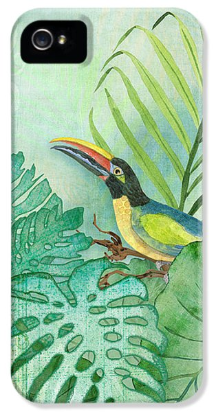 Toucan iPhone 5 Case - Rainforest Tropical - Tropical Toucan W Philodendron Elephant Ear And Palm Leaves by Audrey Jeanne Roberts