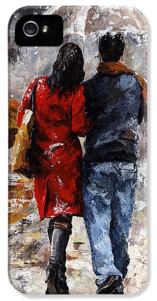 Rainy Day - Walking In The Rain IPhone 5 Case by Emerico Imre Toth