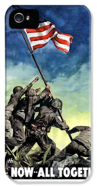 Raising The Flag On Iwo Jima IPhone 5 Case by War Is Hell Store