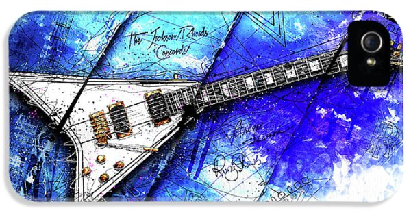Randy's Guitar On Blue II IPhone 5 Case by Gary Bodnar