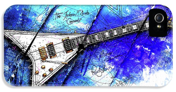 Randy's Guitar On Blue II IPhone 5 / 5s Case by Gary Bodnar