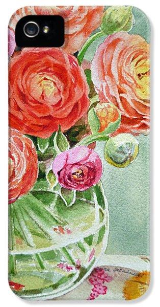 Rose iPhone 5 Case - Ranunculus In The Glass Vase by Irina Sztukowski
