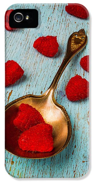 Raspberries With Antique Spoon IPhone 5 Case by Garry Gay