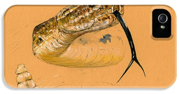 Snake iPhone 5 Case - Rattlesnake Painting by Juan  Bosco