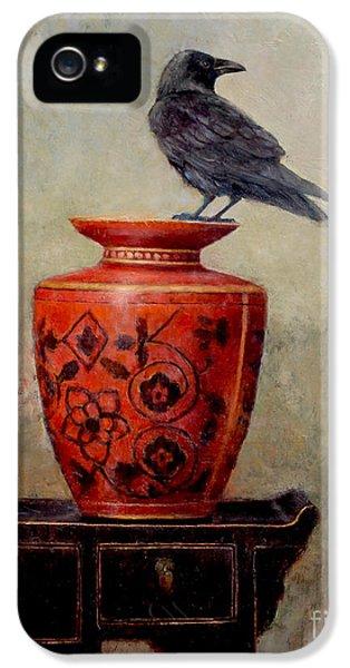 Blackbird iPhone 5 Case - Raven On Red  by Lori  McNee