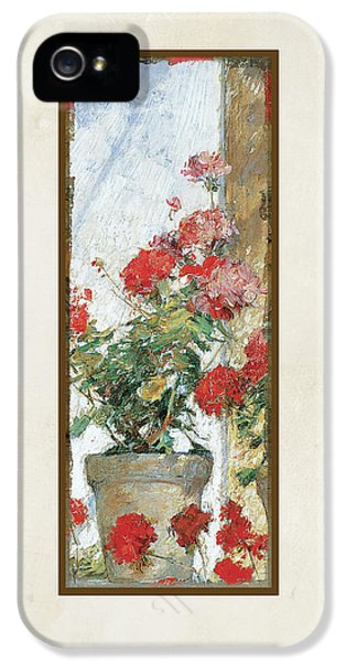 Red Geraniums Against A Sunny Wall IPhone 5 Case by Audrey Jeanne Roberts