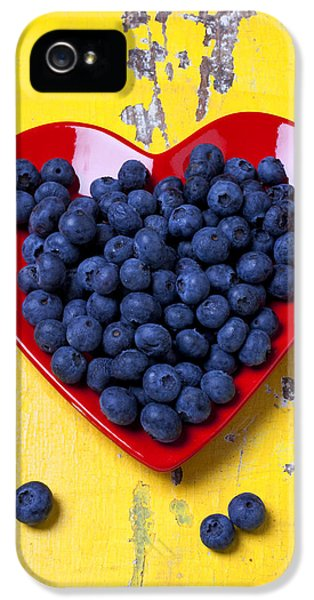 Red Heart Plate With Blueberries IPhone 5 Case