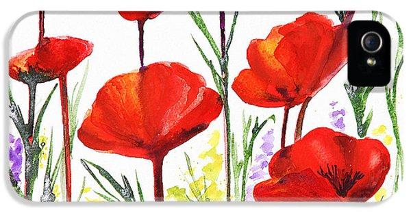 IPhone 5 Case featuring the painting Red Poppies Art By Irina Sztukowski by Irina Sztukowski