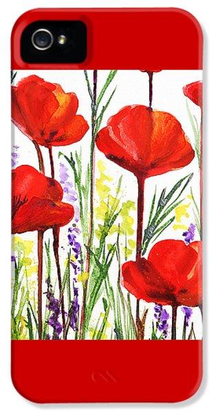 IPhone 5 Case featuring the painting Red Poppies Watercolor By Irina Sztukowski by Irina Sztukowski