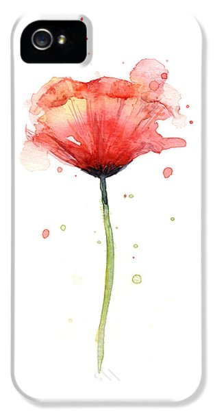 Red Poppy Watercolor IPhone 5 Case by Olga Shvartsur