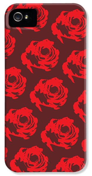 Red Rose Pattern IPhone 5 Case by Cortney Herron