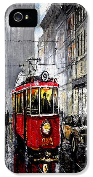 Old Tram iPhone 5 Cases - Red Tram iPhone 5 Case by Yuriy  Shevchuk