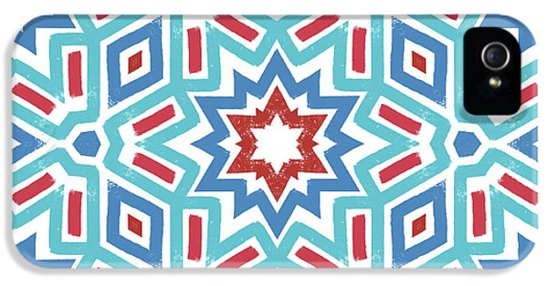 Red White And Blue Fireworks Pattern- Art By Linda Woods IPhone 5 / 5s Case by Linda Woods