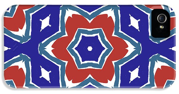 Red White And Blue Star Flowers 1- Pattern Art By Linda Woods IPhone 5 Case by Linda Woods