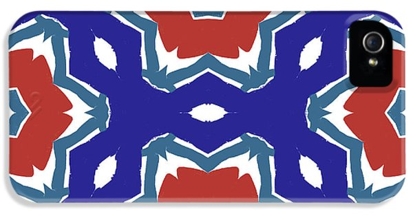 Red White And Blue Star Flowers 2 - Pattern Art By Linda Woods IPhone 5 Case by Linda Woods