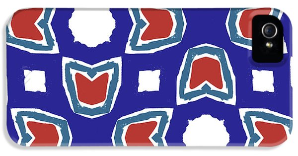 Red White And Blue Tulips Pattern- Art By Linda Woods IPhone 5 Case by Linda Woods