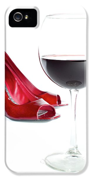 High Heel iPhone 5 Cases - Red Wine Glass Red Shoes iPhone 5 Case by Dustin K Ryan