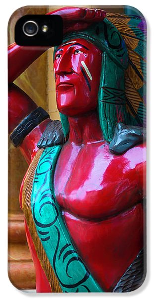 Red Wooden Indian IPhone 5 Case by Garry Gay