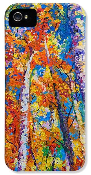 Impressionism iPhone 5 Case - Redemption - Fall Birch And Aspen by Talya Johnson