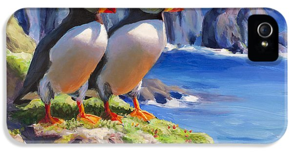 Puffin iPhone 5 Case - Reflecting - Horned Puffins - Coastal Alaska Landscape by Karen Whitworth