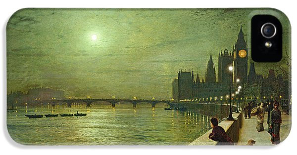 Reflections On The Thames IPhone 5 Case by John Atkinson Grimshaw