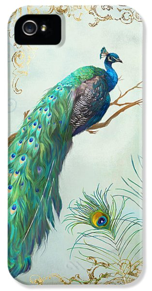 Regal Peacock 1 On Tree Branch W Feathers Gold Leaf IPhone 5 Case