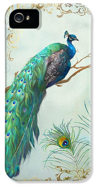 Regal Peacock 1 On Tree Branch W Feathers Gold Leaf IPhone 5 / 5s Case by Audrey Jeanne Roberts