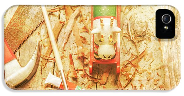 Reindeer With Tools And Wood Shavings IPhone 5 Case by Jorgo Photography - Wall Art Gallery