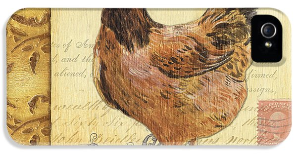Rural Scenes iPhone 5 Case - Retro Rooster 1 by Debbie DeWitt