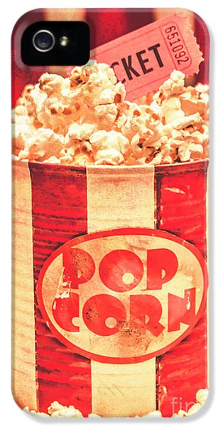 Retro Tub Of Butter Popcorn And Ticket Stub IPhone 5 Case by Jorgo Photography - Wall Art Gallery